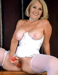 White corset on sexy grandma
