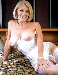 White corset on sexy grandma