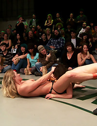 Wrestling match strapon fuck