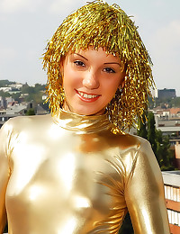 Shiny gold outfit on teen