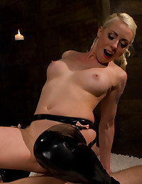 Latex boots babe dominates him