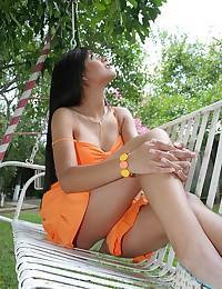 True Tere - Juicy teen brunette having fun in the backyard flashes her panties