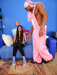 Afte the man danced for Annie in pink costume of the bunny he wanted only to fuck her and feed her with cum.