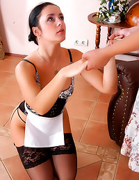 Her maid licks her pussy