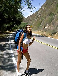 Sexed up swarthy hussy hitchhiking