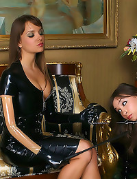 Latex femdom fun with strapon