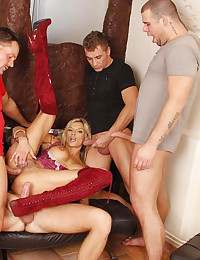 Four cocks want to fuck her