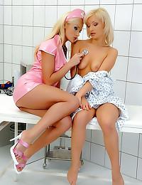 Milky mess in a lesbian nurse...