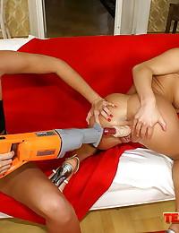 Big titted blonde in a magnif...