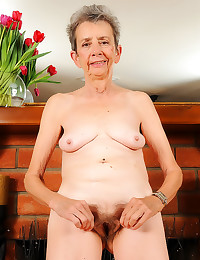 Granny with hairy pussy