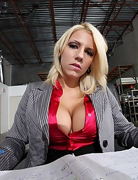 Hot busty blonde at worked fucking