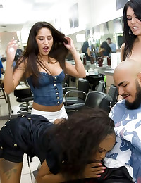 Barber shop orgy is hot