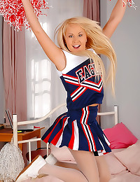 Cheerleader in sexy blue pantyhose
