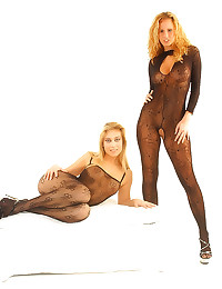 Two lingerie beauties pose to...