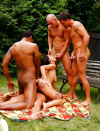 Interracial gangbang outdoors with slut