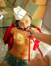 Pizza girl bondage fuck