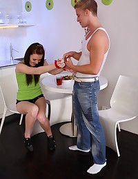 Seleste's pussy turned wet when her boyfriend put the handcuffs on her wrists. She enjoyed brutal mouth fucking.
