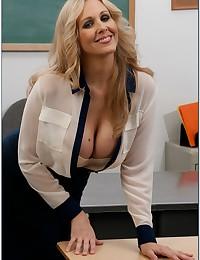 Teacher in sheer blouse nailed