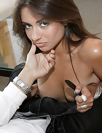 Brunette cocksucker working