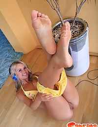Sabrina Blond - Playful little girl takes all her clothes off while listening to music