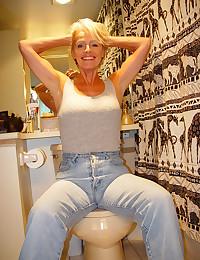 Hairy mature on toilet