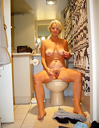 Hairy mature on toilet