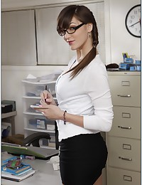 Nerdy Office Babe Holly Rammed Raw