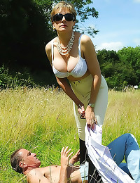 Milf dominates him in the gra...