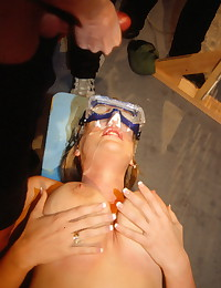 Hot blonde Lisa getting her face blasted with sticky cumloads