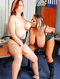 Two fatties rub tits