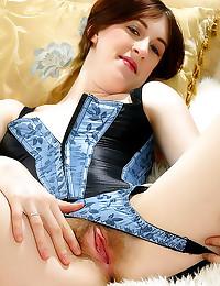 Corset girl has hairy vagina