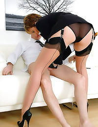 Sexy lingerie milf gives glov...