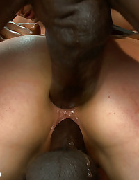 Sarah Shevon gets double penetrated in intense interracial gang bang!
