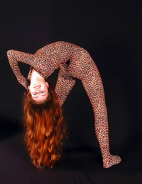 Spandex on a flexible redhead