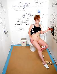 Nerdy redhead public bathroom...