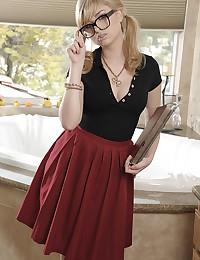 Pigtails teen models short skirt