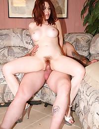 Redhead with big tits pumped