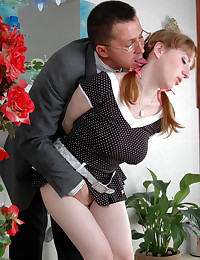 Cute ponytailed girl caught taking off her bottoms banged by the aged dude