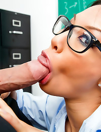 Glasses schoolgirl fuck and facial