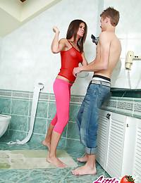 True POV video with 18yo Caprice in toilet