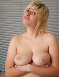 Pierced blonde BBW