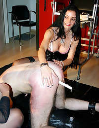 Rough femdom with two beautie...
