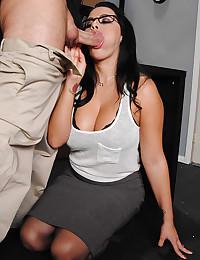 Busty Office Babe Sucks Fat Cock