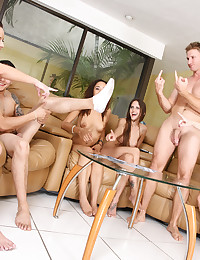 Strip poker is a perfect game as a prelude to group sex