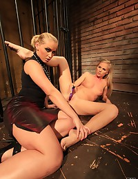 Blonde mistress in leather