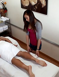 Hot perfect ass asian fucked hard against the massage table hot screaming fuck pics