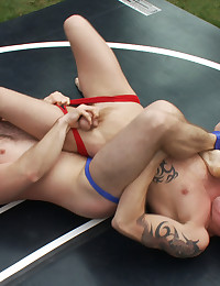 A chiseled, big-dicked stud takes on a big, beefy man's man in an uber-agressive match that ends in a passionate suck and fuck you will not forget.