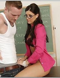 Teacher in glasses hardcore