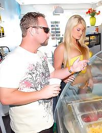 Food fun with bikini milf