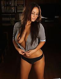 Glasses on luscious beauty